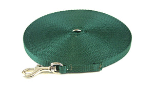 20ft Dog And Puppy Training Lead 13mm Webbing In Forest Green