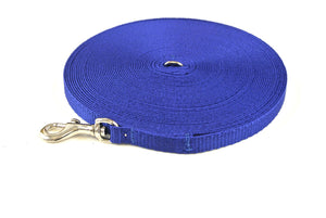 20ft Dog And Puppy Training Lead 13mm Webbing In Royal Blue