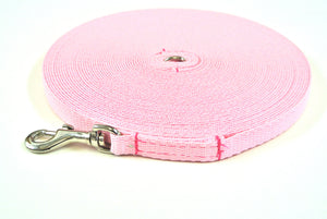 Dog and puppy training lead in 50ft baby pink