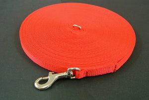 20ft Dog And Puppy Training Lead 13mm Webbing In Red