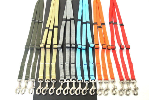 Adjustable 3 way triple dog lead coupler splitter in 13mm webbing in various colours