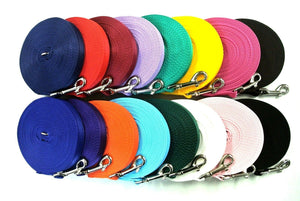 5ft-50ft Dog Training Lead In Various Colours