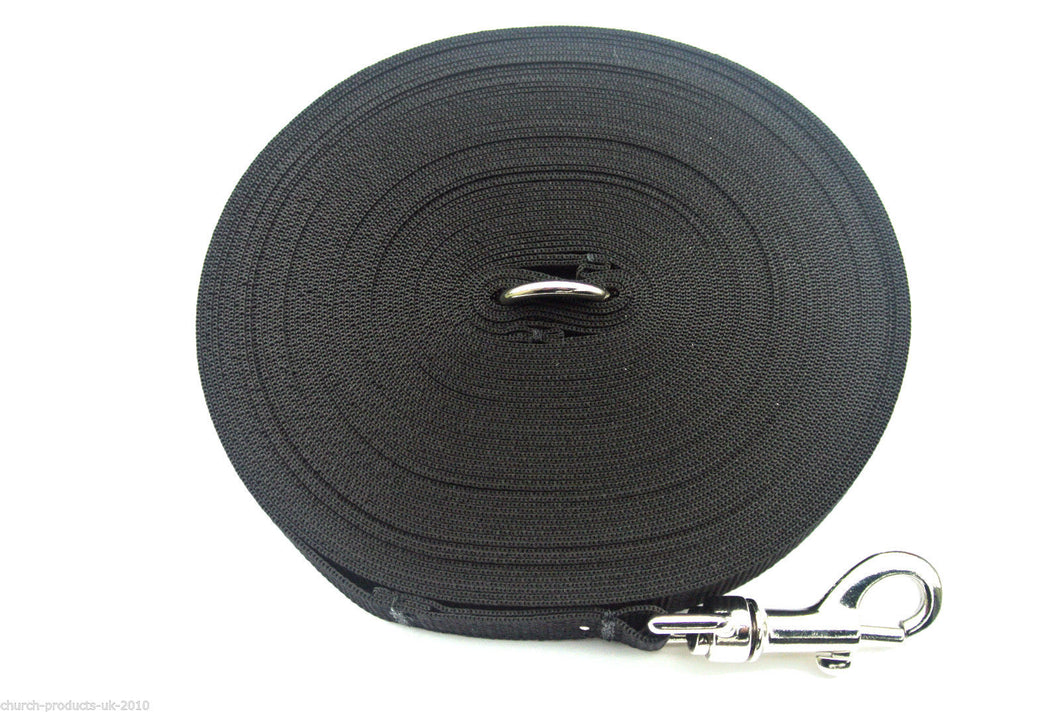 150ft Dog Training Lead 25mm Webbing In Black