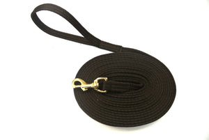 Horse lunge line dog training lead with solid brass trigger clip in brown