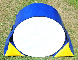 Dog Agility Tunnel Sandbags Adjustable In Blue And Yellow