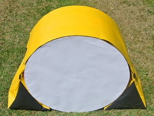 Dog agility tunnel sandbags in yellow and black