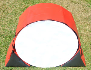 Dog agility tunnel sandbags in red and black