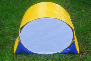 Dog agility tunnel sandbags in yellow and blue