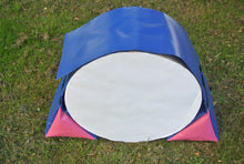 Load image into Gallery viewer, Dog agility tunnel sandbags in blue and cerise