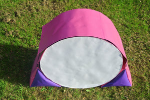 Dog agility tunnel sandbags in cerise and purple