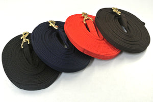 Horse lunge line dog training lead with solid brass trigger clip in black red navy and brown