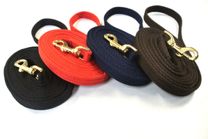 Horse Lunge Line Dog Training Lead Padded Strong Soft Air Webbing Solid Brass Trigger Clip