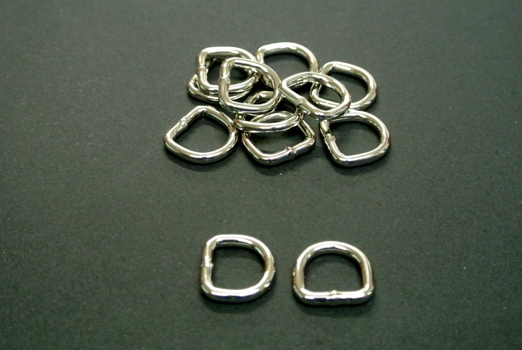 13mm Welded D-Rings 3mm Thick Nickel Plated For Bags Straps Dog Leads Crafts x10 x25 x50 x100