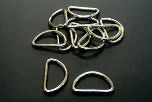 38mm Welded D-Rings 3mm Thick Nickel Plated For Bags Straps Dog Leads Crafts x10 x25 x50 x100