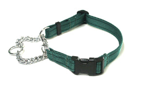 Half Check Chain Dog Collars Adjustabe In Forest Green