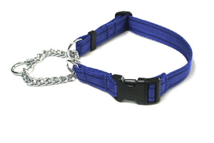 Half Check Chain Dog Collars Adjustable In Royal Blue
