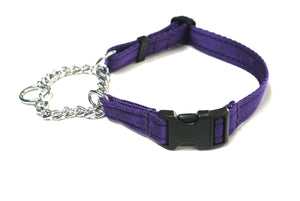 Half Check Chain Dog Collars Adjustable In Purple