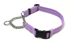 Half Check Chain Dog Collars Adjustable In Lilac