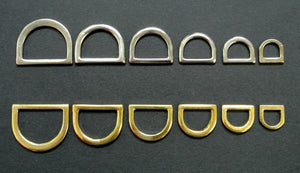 Pressed Solid D-Rings Brass & Nickel Plated x10 in Various Sizes For Webbing Bags Dog Leads & Collars