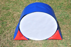 Dog agility tunnel sandbags in blue and red