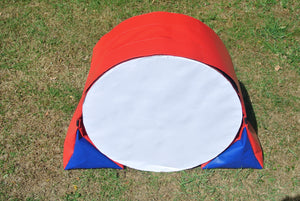 Dog agility tunnel sandbags in red and blue