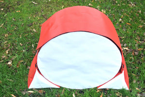 Dog agility tunnel sandbags in red and white