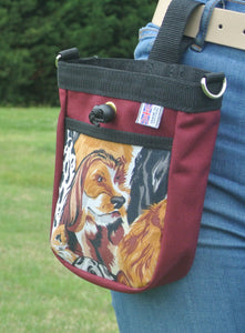 Multi-Use Pet Dog Treat Bag In Burgundy With Dog Face Style