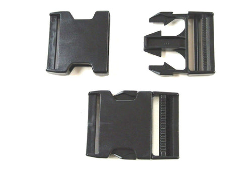 Black Plastic Side-Release Buckles For Webbing Bags Straps Fastenings x10