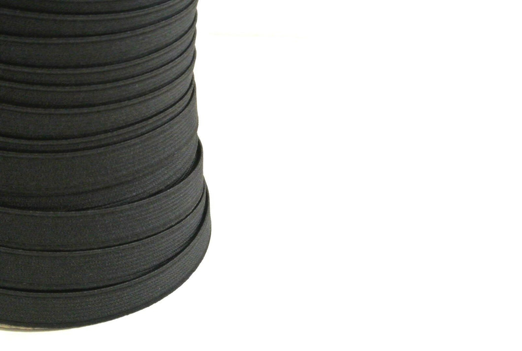 Flat Corded Elastic In Black For Sewing and Crafts In Various Widths and Lengths