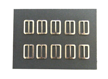 Load image into Gallery viewer, Metal 3 Bar Slides Nickel Plated 13mm 20mm 25mm 32mm 40mm 50mm x 10 x 50 For Bags Straps Webbing