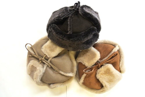 Genuine Sheepskin Hat With Ear Warmers Unisex In Various Colours