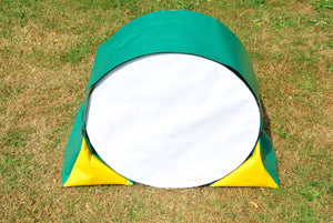 Dog agility tunnel sandbags in green and yellow