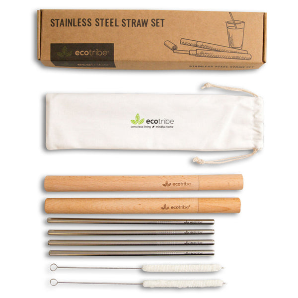 Stainless Steel Straws & Wooden Case Set - 2 Cases + 4 Straws