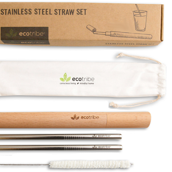 Stainless Steel Straws & Wooden Case Set - 1 Case + 2 Straws