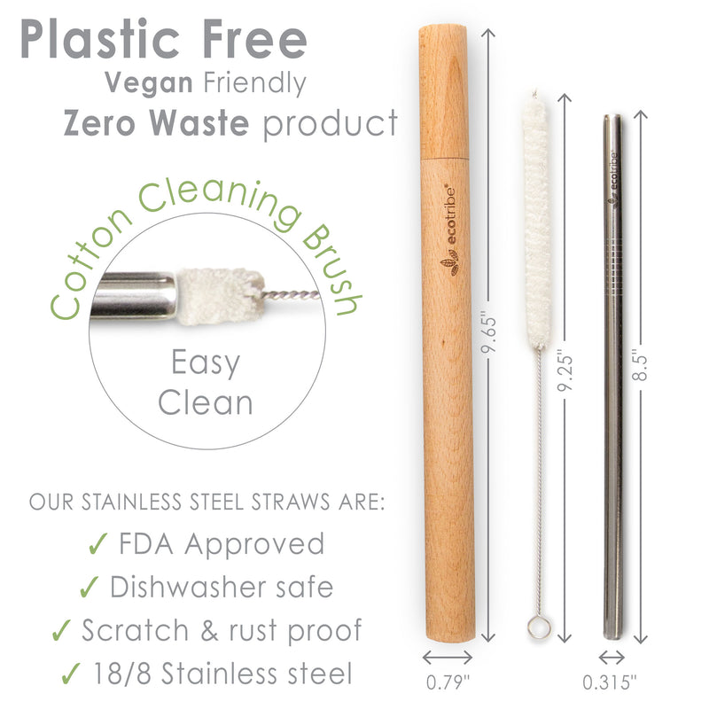 Stainless Steel Metal Straws & Wooden Case Set - 2 Cases + 4 Straws