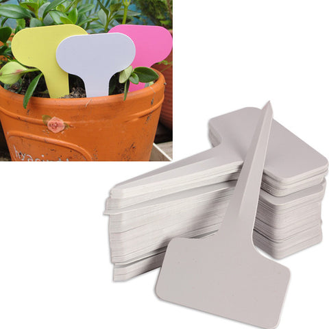 Top Sell 100pcs 6 x10cm Plastic Plant T-type Tags Markers Nursery Garden Labels Garden decoration A2  FG