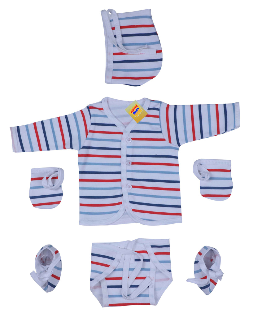 799d7a44e Fareto® New Born Gift Set Baby Combo of 4 Daily Wear Dress Just Born Baby  Dress Front Open Shirts Caps Nappy Mittens Booties(Assorted) (0-3 Months)