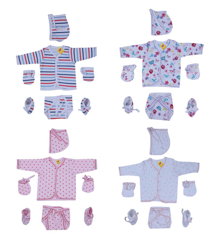 Fareto® New Born Gift Set Baby Combo of 4 Daily Wear Dress/Just Born Baby Dress/Front Open Shirts/Caps/Nappy/Mittens/Booties(Assorted) (0-3 Months)