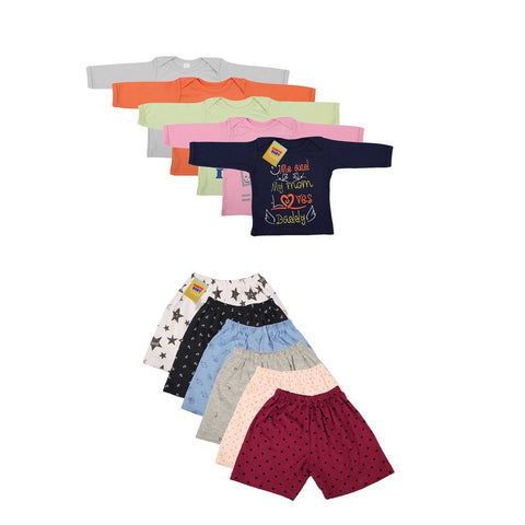 Fareto Unisex Combo Of 6 Baby Shorts And 5 Mom & Dad Quotes Tees
