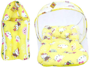 Fareto Teddy Baby Mattress with Mosquito Net & Sleeping Bag Combo 0-6 Months (0-6 Months,Yellow Teddy)