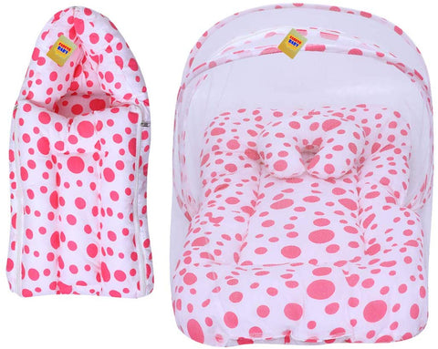 FARETO Baby Mattress with Mosquito Net & Sleeping Bag Combo 0-6 Months(PI: Circle) (0-6 Months) (Pink)