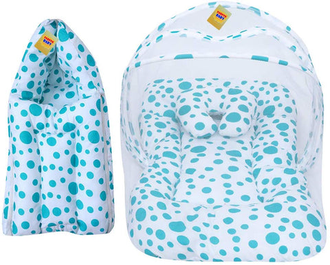 FARETO Baby Mattress with Mosquito Net & Sleeping Bag Combo 0-6 Months(PI: Circle) (0-6 Months) (Blue)