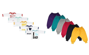 Fareto Combo of 11,Baby Rib Track Pants Pack of 6 & 5 Mom & Dad Theme T-Shirt Unisex