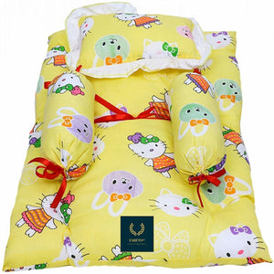 Fareto 4 Pcs Bedding Set(PI: Teddy)(0-3 Months) (Yellow)