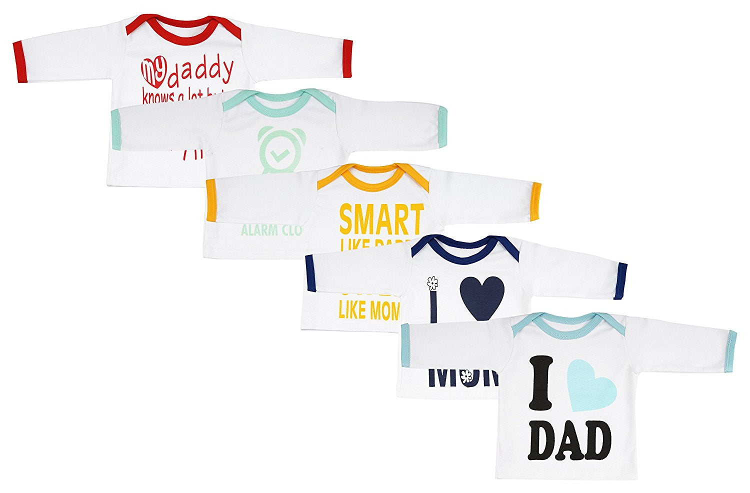 Fareto Baby Full Sleeves Mom & Dad Theme T-shirts Pack Of 5