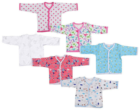 Fareto Baby Front Open Button Full Sleeves Shirts Pack Of 6 In Multi Colours