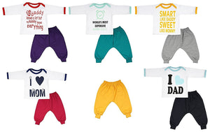 Fareto Combo of 11,Baby Rib Track Pants Pack of 6 & 5 Mom & Dad Theme T-Shirt Unisex (6-12 Months)