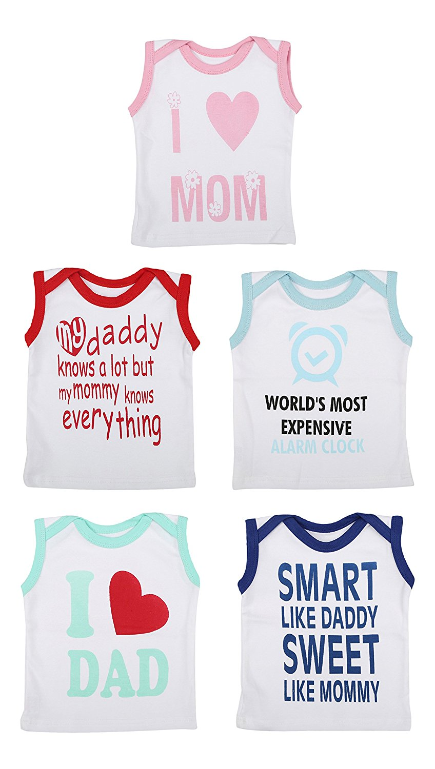 Fareto Baby Cut Sleeves Mom & Dad Theme Tees Pack Of 5