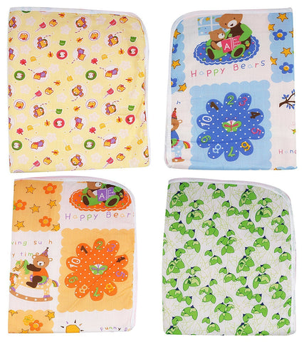 Fareto baby one sided cotton plastic sheet pack of 4pcs(Assorted)(0-6 Months)(20*22Inchs)