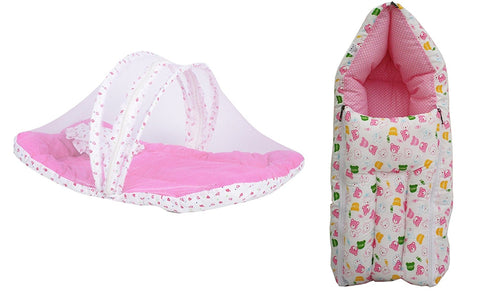 Fareto Baby Combo Of Sleeping Bag And Mosquito Bedding Set(Pink)
